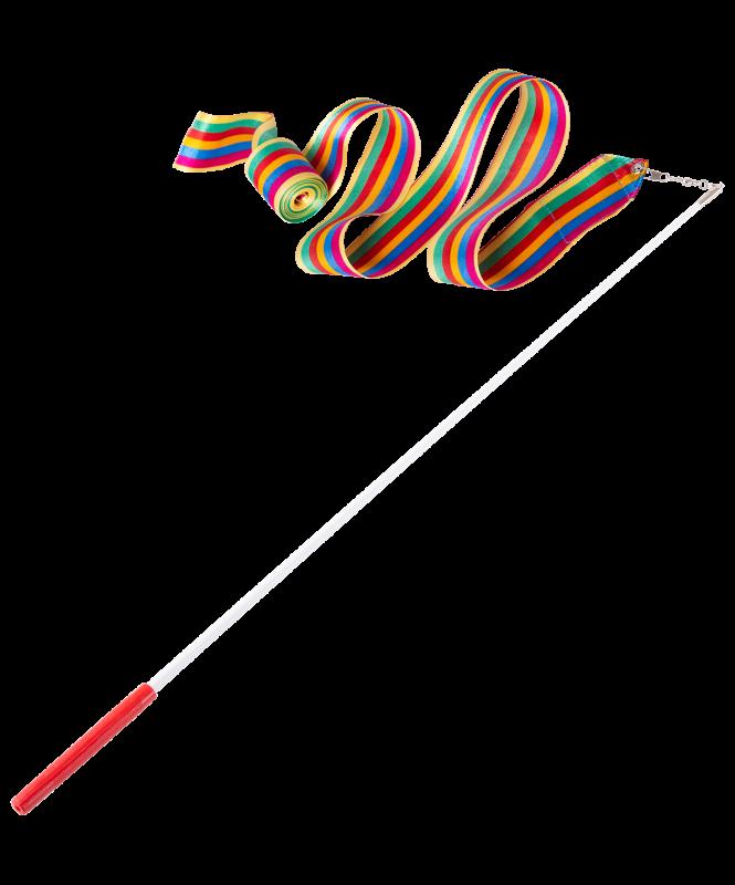Лента для художественной гимнастики AGR-201 6м, с палочкой 56 см, радуга , Amely