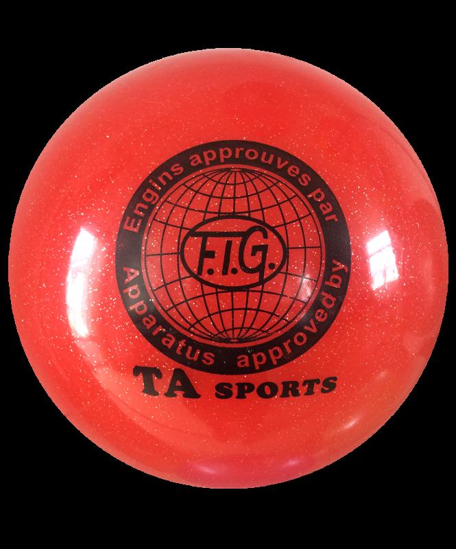 Мяч для художественной гимнастики RGB-102, красный, с блестками