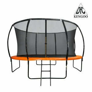 Батут DFC KENGOO II 12ft внутр.сетка, лестница, оранж/черн (366см) (два короба)