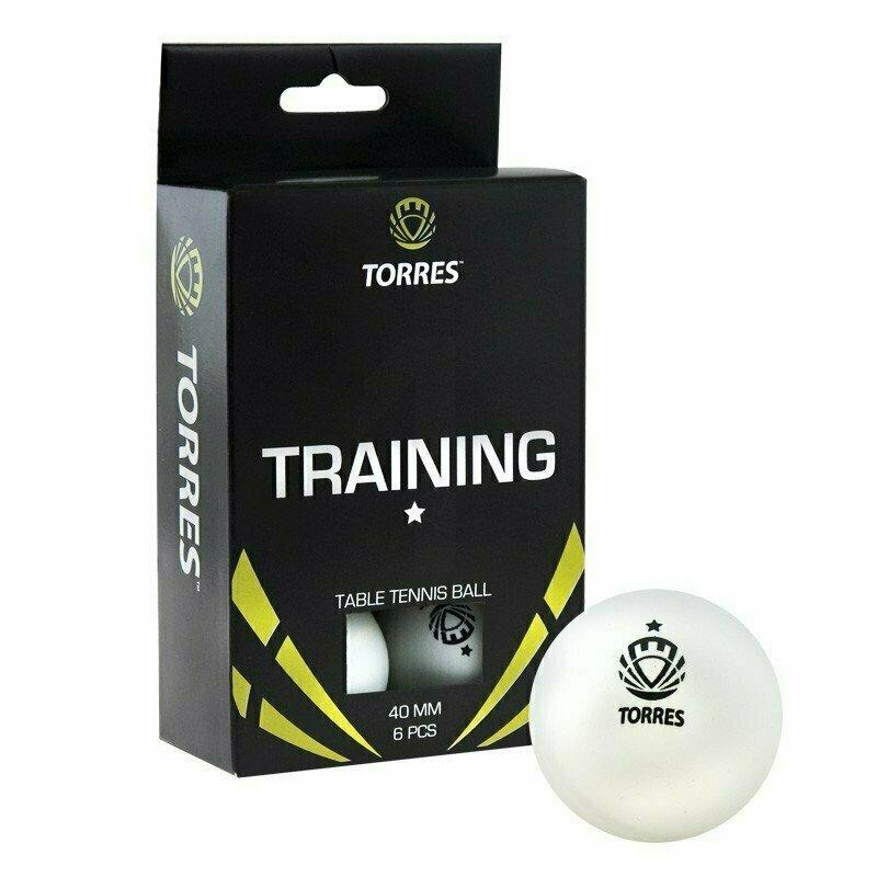 Мяч для настольного тенниса TORRES Training 1*, арт. TT0016, диам. 40+ мм, упак. 6 шт, белый