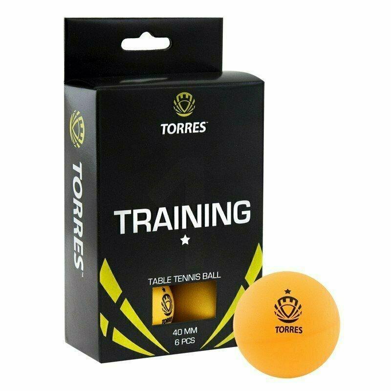 Мяч для настольного тенниса TORRES Training 1*, арт. TT0015, диам. 40+ мм, упак. 6 шт, оранж