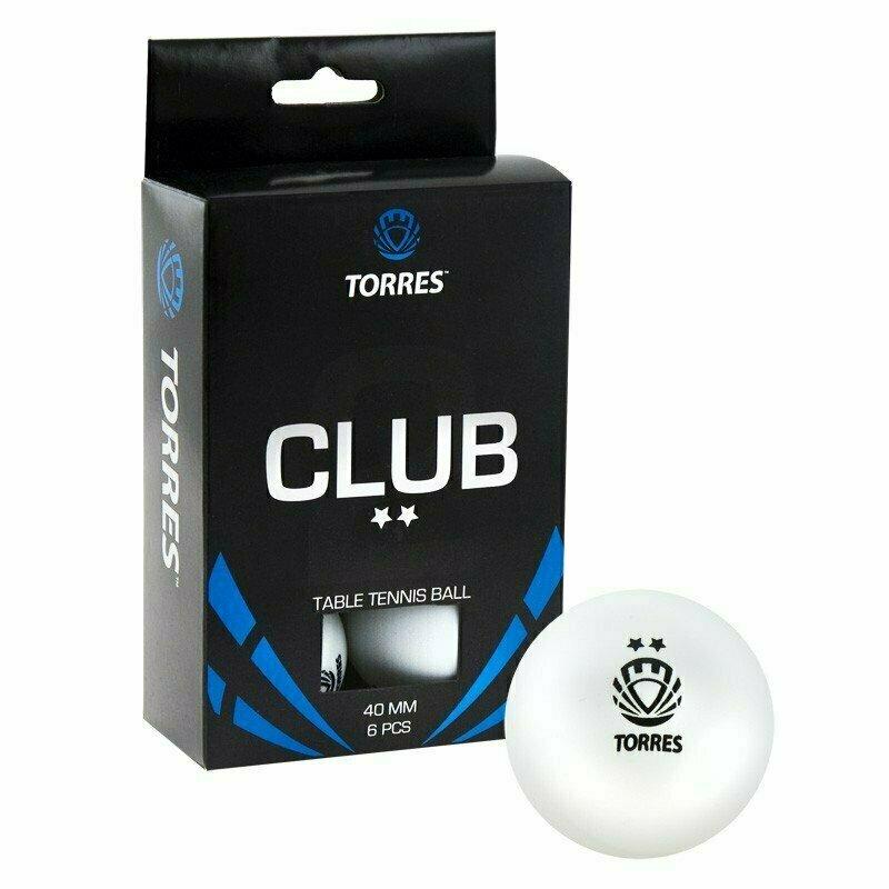 Мяч для настольного тенниса TORRES Club 2*, арт. TT0014, диам. 40+мм, упак. 6 шт, белый