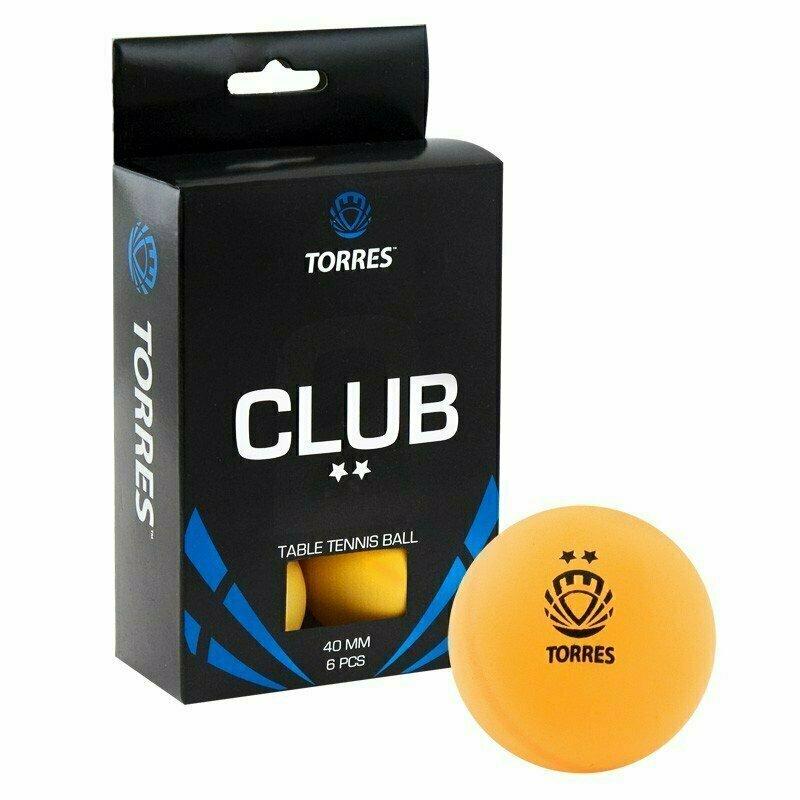 Мяч для настольного тенниса TORRES Club 2*,арт. TT0013, диам. 40+ мм, упак. 6 шт, оранжевый