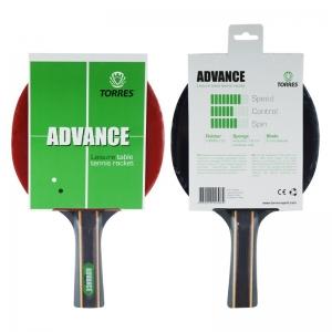 Ракетка для настольного тенниса TORRES Advance, арт.TT0004, для любителей, накладка 1,8 мм, конич. ручка
