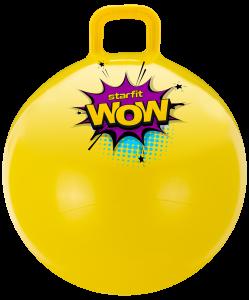 Мяч-попрыгун GB-0401, WOW, 55 см, 650 гр, с ручкой, жёлтый, антивзрыв, Starfit