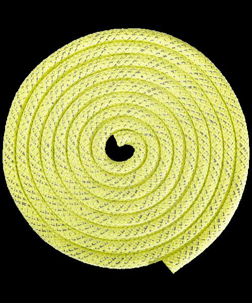 Скакалка для художественной гимнастики RGJ-304, 3м, салатовый/серебряный, с люрексом, Amely