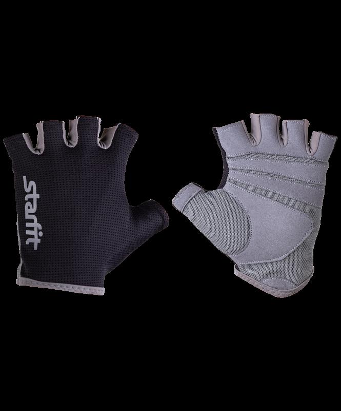 Перчатки для фитнеса SU-127, черный/серый, Starfit