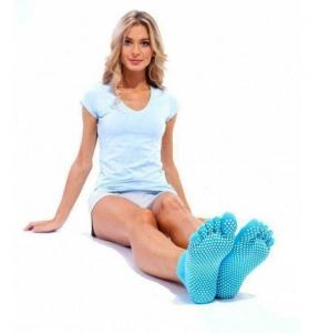 Носки противоскользящие для занятий йогой открытые, бирюзовые BRADEX SF 0209