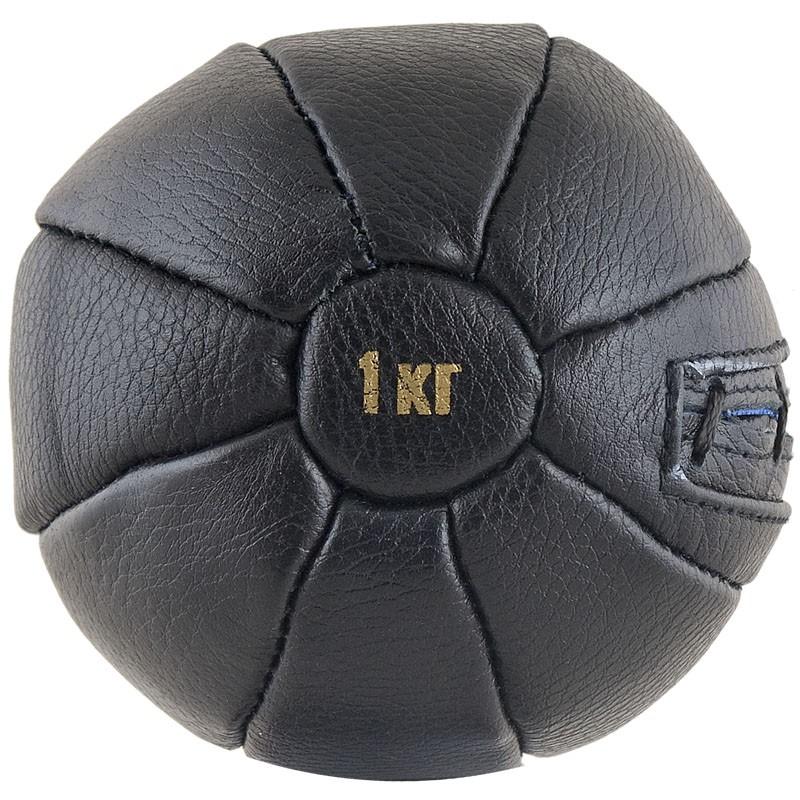 Медбол FS№1000, 1кг, нат. кожа, наполнитель резиновая крошка, диам. 14 см, машинная сшивка, черный MADE IN RUSSIA