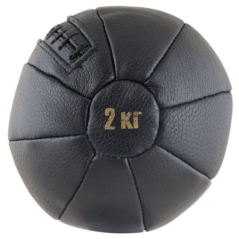 Медбол FS№2000, 2 кг,нат. кожа,наполнитель резиновая крошка,диам. 17,5 см, машинная сшивка, черный MADE IN RUSSIA