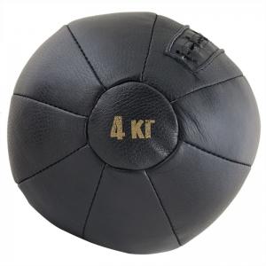 Медбол FS№4000, 4 кг, нат. кожа, наполнитель резиновая крошка, диам. 22 см, машинная сшивка, черный MADE IN RUSSIA