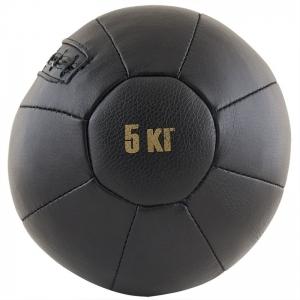 Медбол FS№5000, 5 кг, нат. кожа, наполнитель резиновая крошка, диам. 25 см, машинная сшивка, черный MADE IN RUSSIA