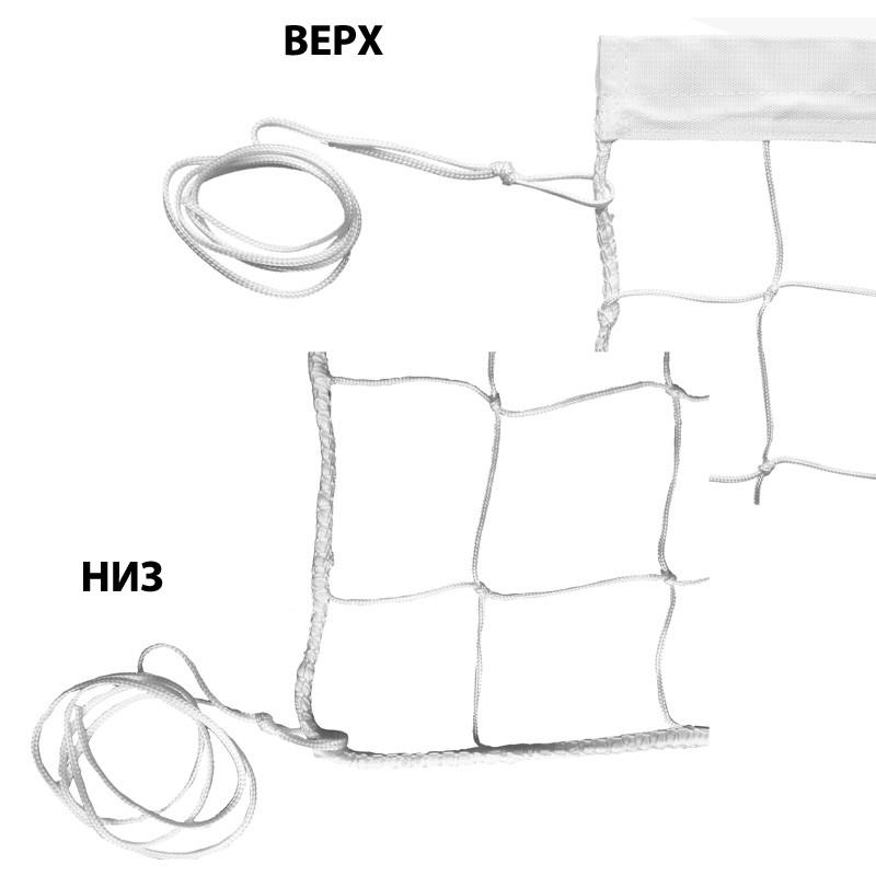 Сетка волейбольная , арт.FS-V-№1, бел., 9.5х1м, нить 3,5мм ПП, яч. 10 см., верх.лента ПП 5 см, без троса, бел MADE IN RUSSIA