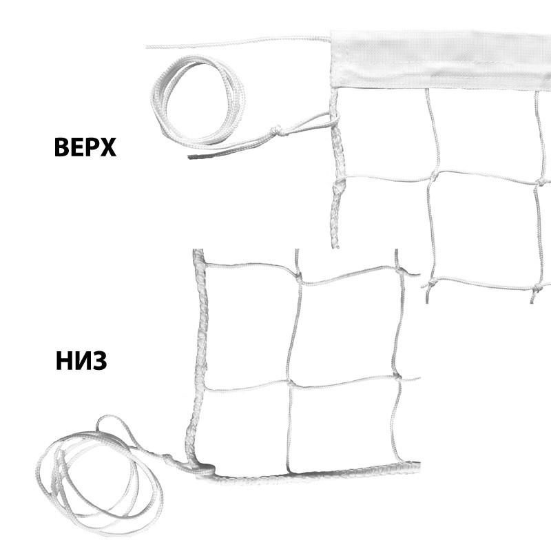 Сетка волейбольная , арт.FS-V-№3, бел., 9.5х1м, нить 3,5мм ПП, яч.10см., верх.лента ПП 5см, нейлон. шнур. бел MADE IN RUSSIA