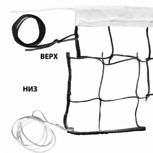 Сетка волейбольная , арт.FS-V-№3.1, черн., 9.5х1м, нить 3,5мм ППяч.10см, верх.лента ПП 5см, нейлон. шнур, чер MADE IN RUSSIA