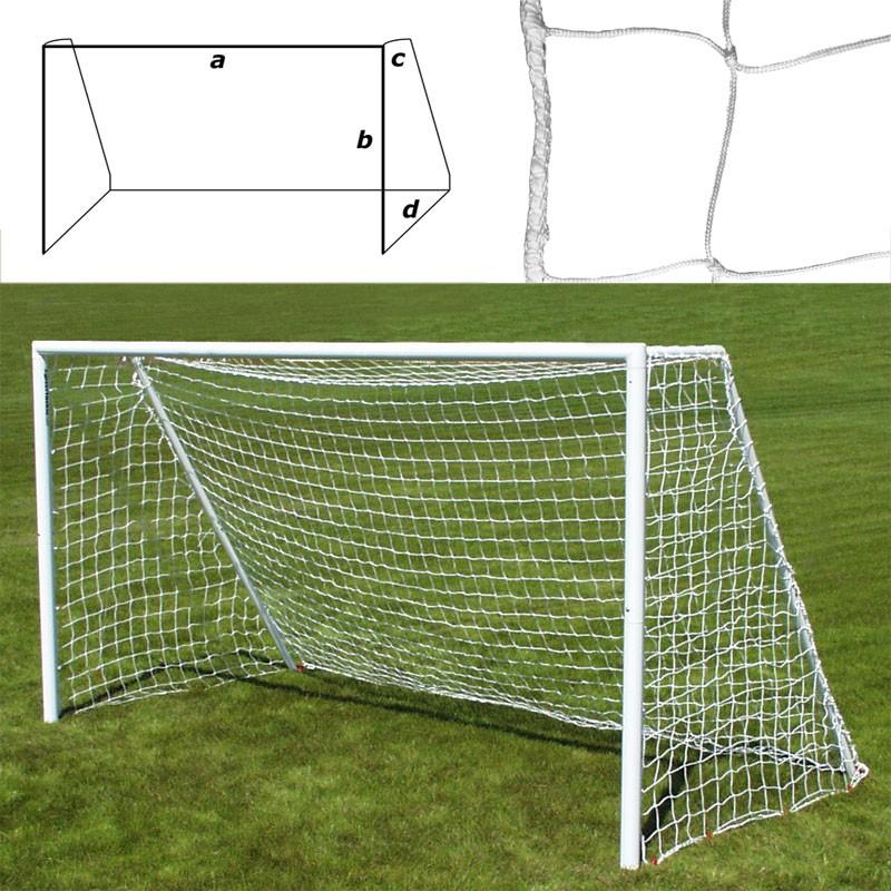 Сетка футбольная FS-F-№11 (F5.0x2.0), a:5.0 b:2.0 c:0.8 d:1.2м, нить 3,5 мм ПП, яч. 10*10см, белая MADE IN RUSSIA