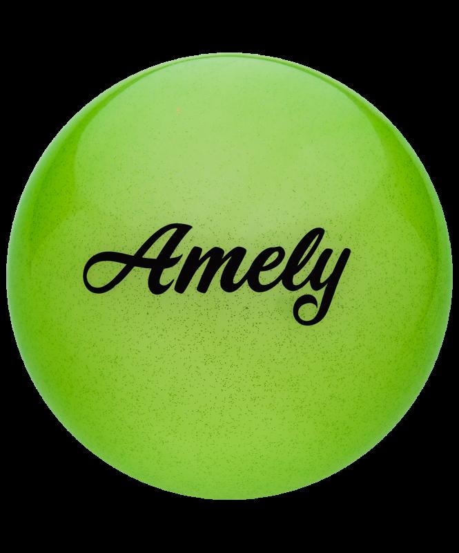 Мяч для художественной гимнастики AGB-102 19 см, зеленый, с блестками, Amely