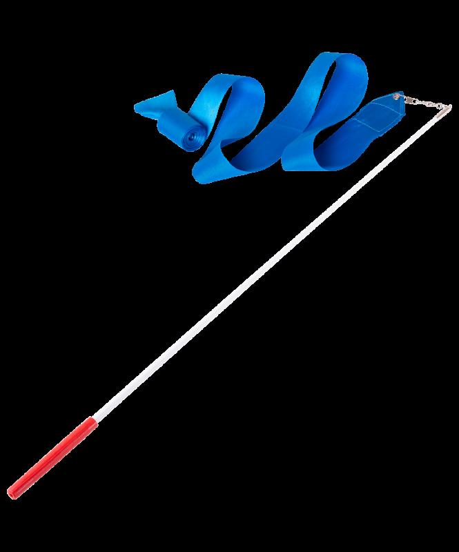 Лента для художественной гимнастики AGR-201 6м, с палочкой 56 см, голубой, Amely