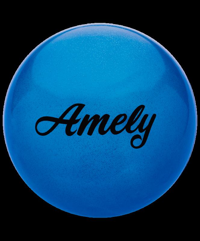 Мяч для художественной гимнастики AGB-102 19 см, синий, с блестками, Amely
