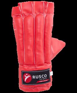 Перчатки снарядные, шингарды, кожзам, красно-сине-черный, Rusco