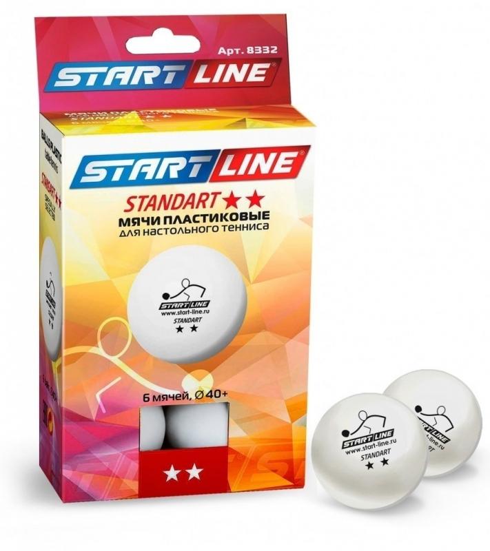 Мяч для настольного тенниса START LINE STANDART 2*, 6 шт