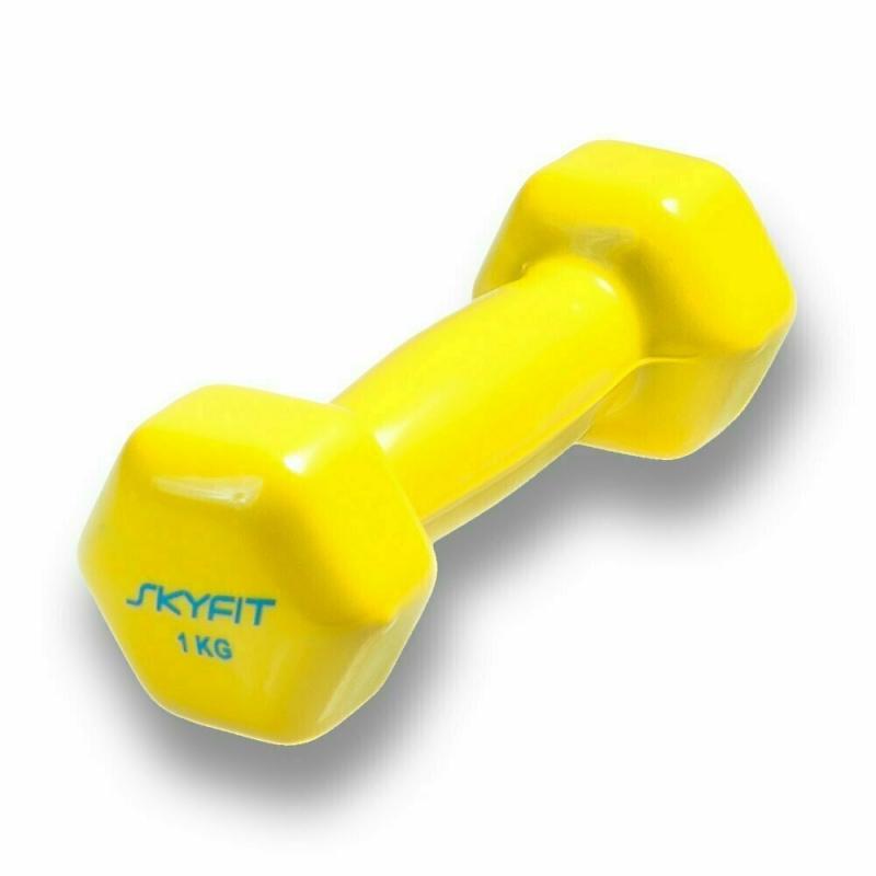 Гантель в виниловой оболочке SKYFIT 1 кг. желтая