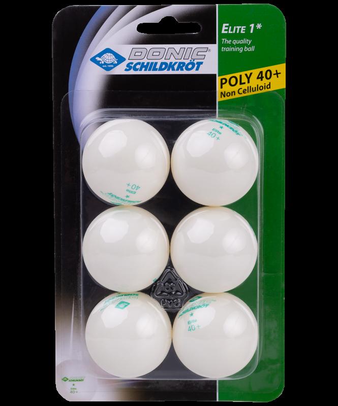 Мяч для настольного тенниса 1* Elite, белый, 6 шт., Donic