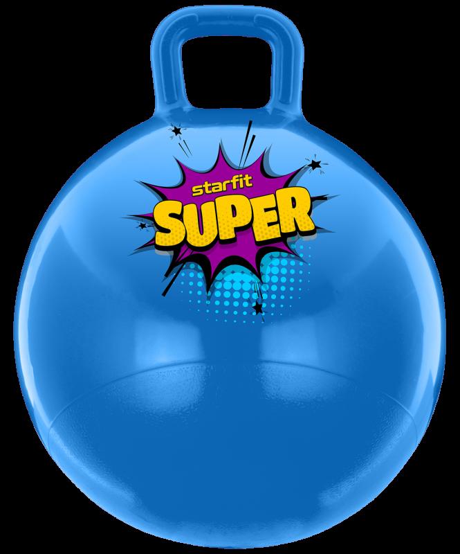 Мяч-попрыгун GB-0401, SUPER, 45 см, 500 гр, с ручкой, голубой, антивзрыв, Starfit