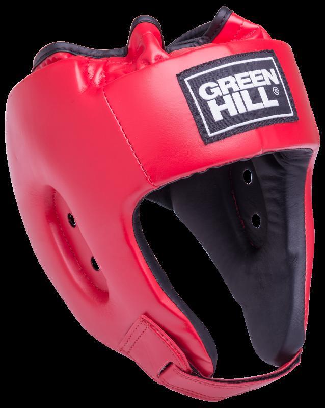 Шлем открытый Alfa HGA-4014, кожзам, красный, Green Hill