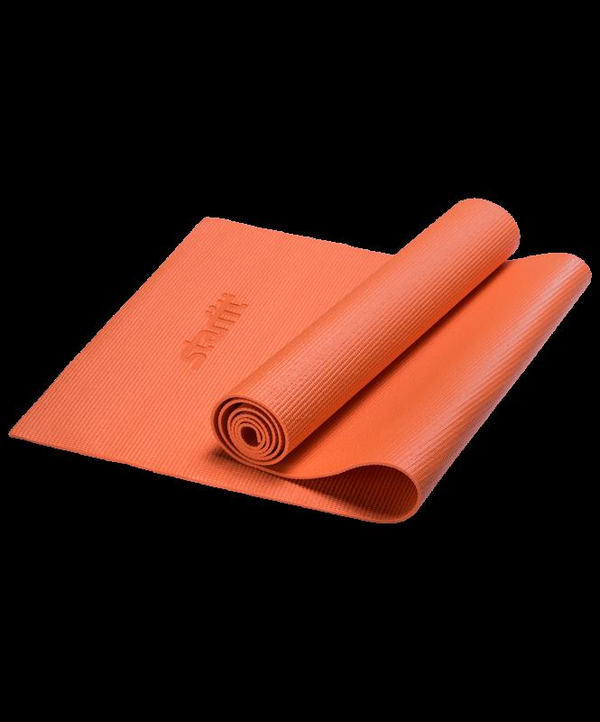 Коврик для йоги FM-101, PVC, 173x61x0,4 см, оранжевый , Starfit
