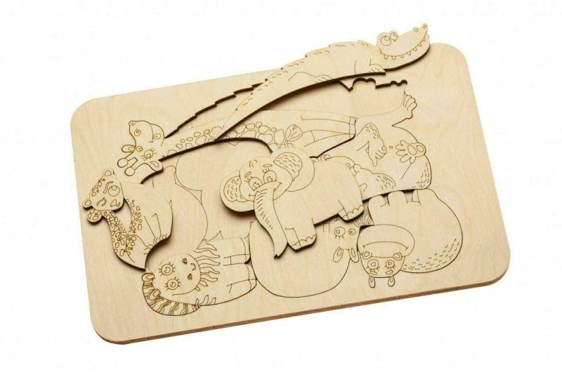 Деревянный развивающий пазл-раскраска «ЖИТЕЛИ АФРИКИ» BRADEX DE 0416