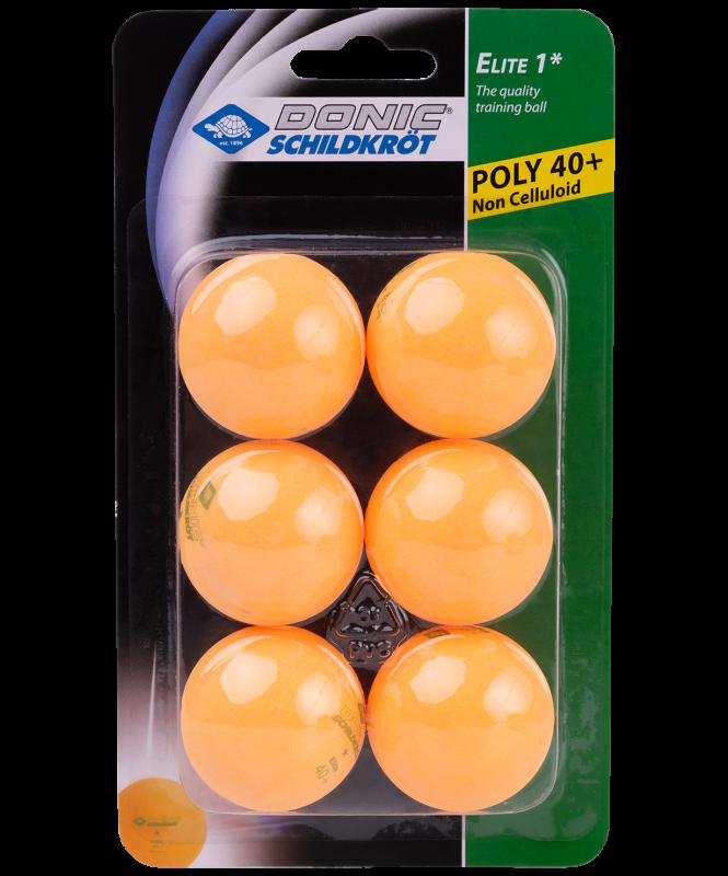 Мячи для настольного тенниса, 1* Elite, оранжевый, 6 шт, Donic