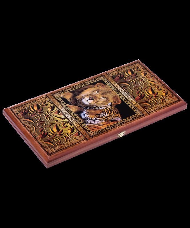 Нарды средние, с деревянными шашками, дубовые, цветной рисунок , Colton