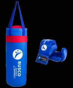 Набор для бокса Rusco, 4oz, кожзам, синий
