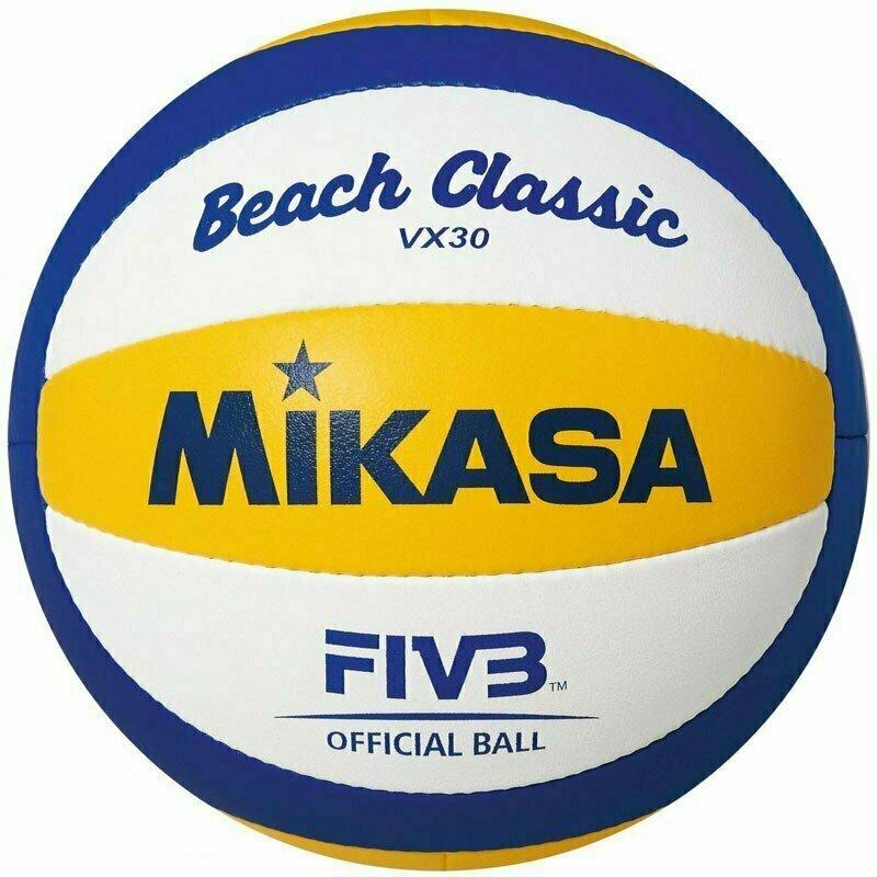 Мяч для пляжного волейбола  MIKASA VX30 , р.5, синтетическая кожа (ПУ), ручная сшивка , бутиловая камера , бел-син-жел