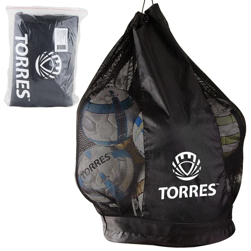 Сумка-баул для мячей TORRES арт.SS11069,на 15 футб.мяч,на шнурке с фиксатором, на 15 мячей, черная