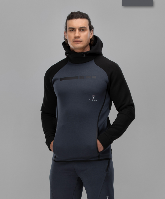 Мужское спортивное худи Intense PRO FA-MJ-0101, черный/темно-серый, FIFTY