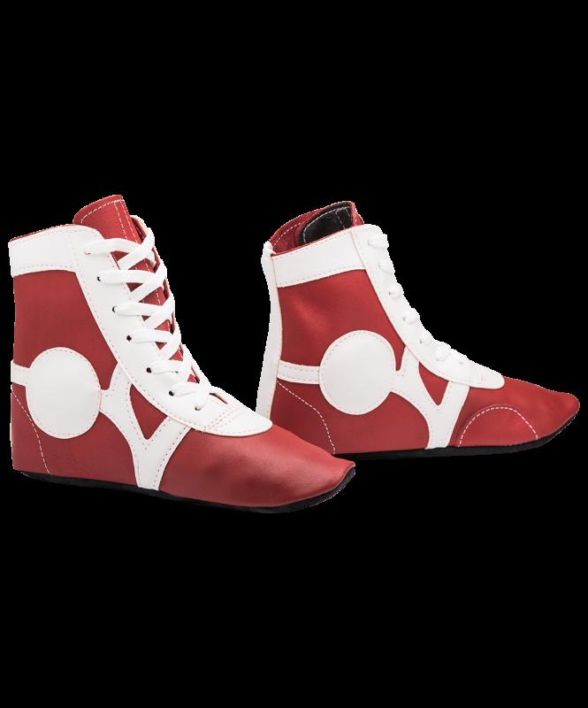 Обувь для самбо SM-0102, кожа, красный, Rusco