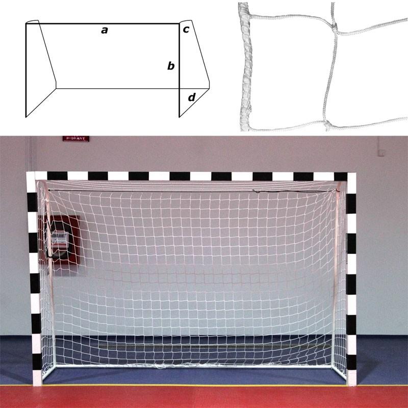 Сетка гандбольная/футзальная , арт.FS-G-№12, a:3.0 b:2.0 c:0.8 d:1.0 м, нить 3,5мм ПП, яч. 10*10 см, белая MADE IN RUSSIA