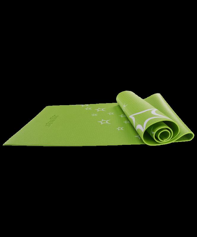 Коврик для йоги FM-102, PVC, 173x61x0,6 см, с рисунком, зеленый, Starfit