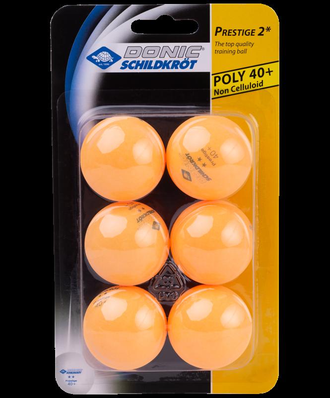 Мяч для настольного тенниса 2* Prestige, оранжевый, 6 шт., Donic