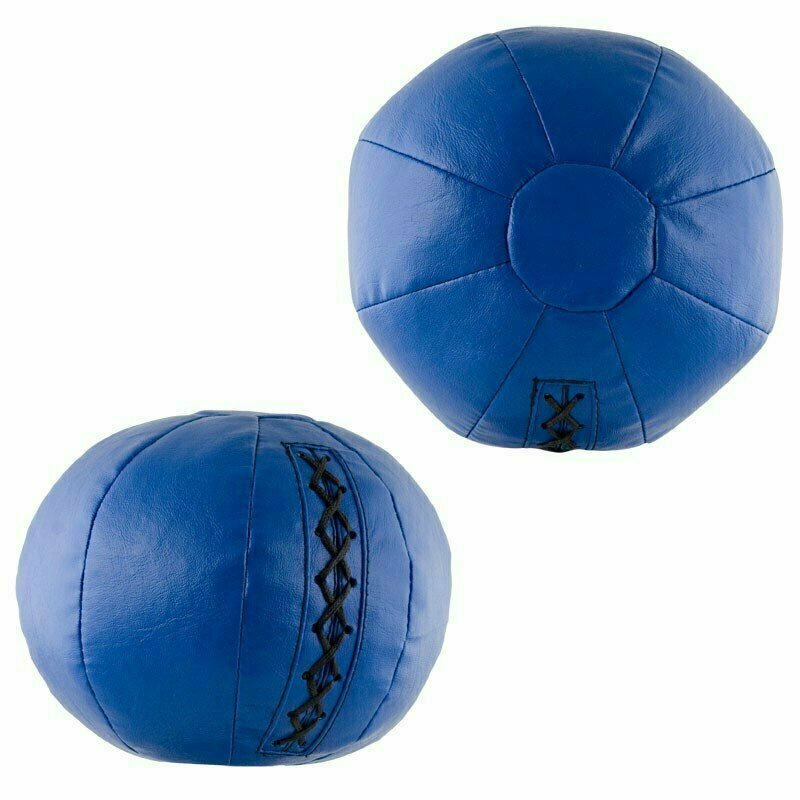Медбол FS№0001, 1кг, иск.кожа, наполнитель резиновая крошка, диам. 14 см, машинная сшивка, синий MADE IN RUSSIA