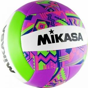 Мяч для пляжного волейбола  MIKASA GGVB-SF , р.5, синтетическая кожа (ТПУ),18 п, маш. сш,бутиловая камера , бел-фиол-сал-роз