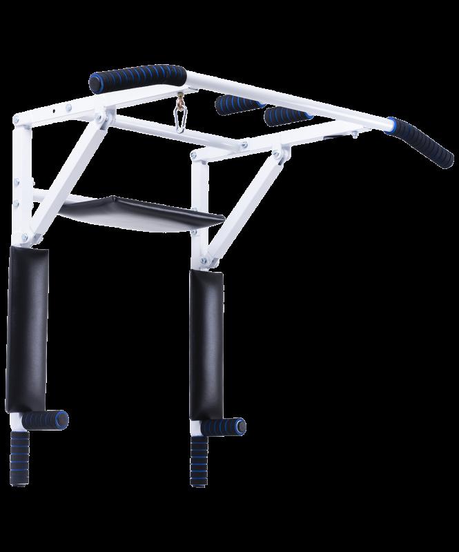 Турник-брусья настенный 3 в 1 Workout, складной d=28 мм, ширина 115 см, вынос 56 см, BaseFit