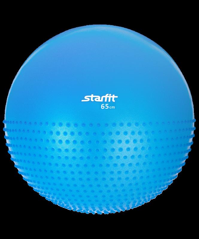 Мяч гимнастический полумассажный GB-201 65 см, антивзрыв, синий, Starfit