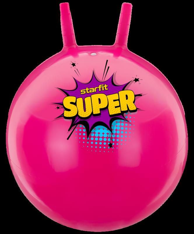 Мяч-попрыгун GB-0401, SUPER, 45 см, 500 гр, с рожками, розовый, антивзрыв, Starfit