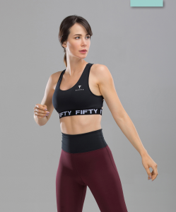 Женский спортивный бра-топ Balance FA-WB-0105, черный, FIFTY