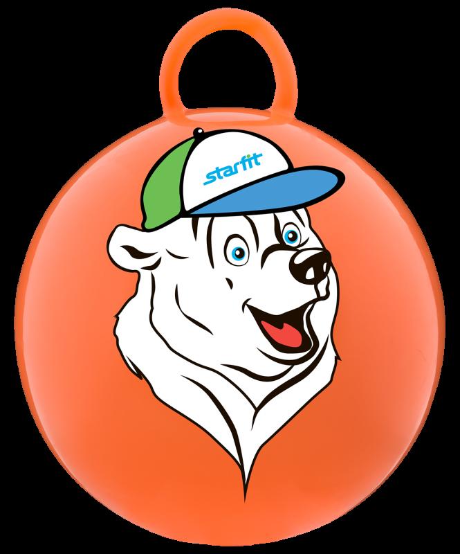 Мяч-попрыгун Медвежонок GB-403, 65 см, с ручкой, оранжевый, Starfit