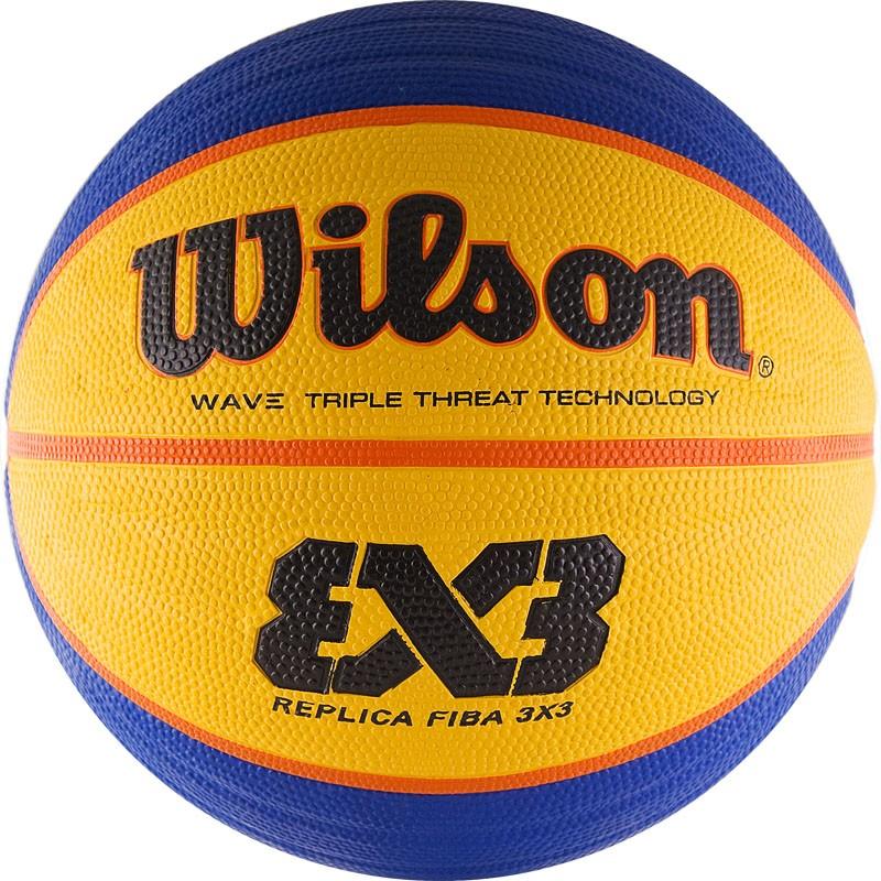 Мяч баскетбольный WILSON FIBA3x3 Replica, арт.WTB1033XB, р.6, резина, бутиловая камера , сине-желтый