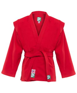 Куртка для самбо JS-302, красная, р.00/120, Green Hill